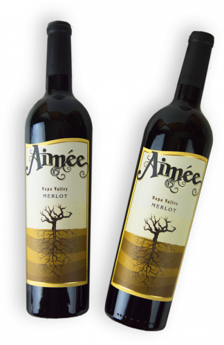 Two bottles of Aimee Napa Valley Merlot.