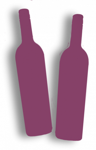 Two purple wine bottle silhouettes.