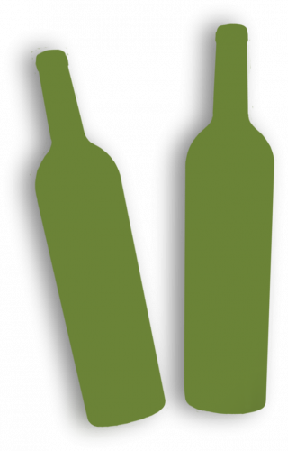 Two green wine bottle silhouettes.